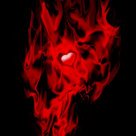 Red heart in flames, Valentines Day background