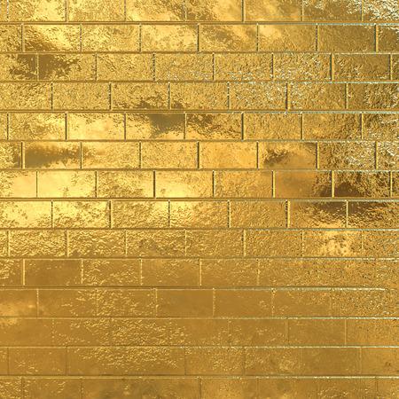 Golden brick wall, gold background