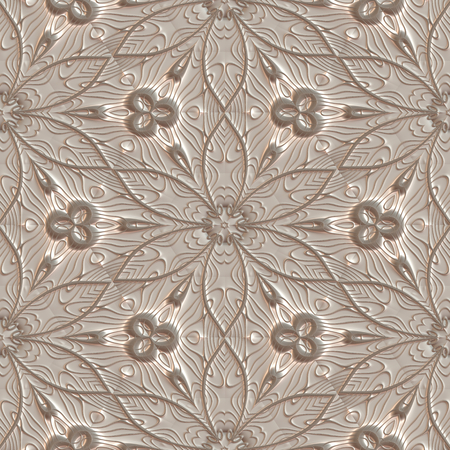 Seamless wallpaper 3D pattern in vintage style Stock Photo