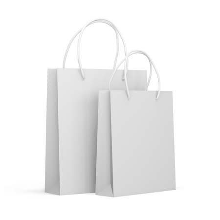 Paper packages isolated on a white background. Mock up. 3d render Stock Photo