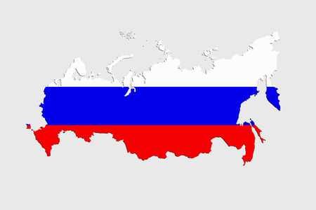 Map of Russia in flag colors isolated on a white background.