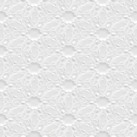 Seamless wall panel, white paper flowers 3d background Stock Photo