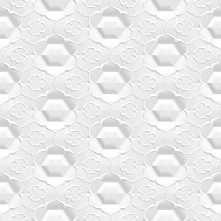 Embossed white paper with floral pattern, 3d seamless background
