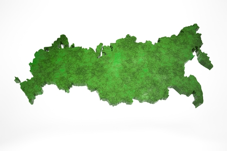 Green map of Russia on a white background, 3d render
