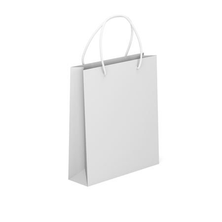 Package isolated on a white background, Empty shopping bag. Mock up. 3d render