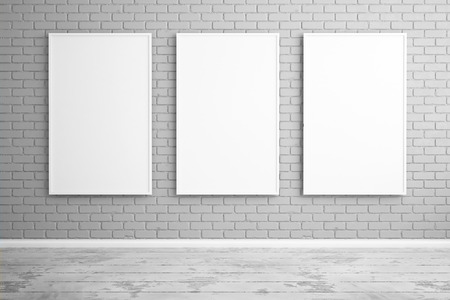 Three posters hanging on the wall, mock up. 3d render Stock Photo
