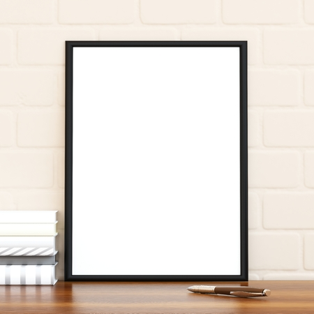 Mock up poster frame on the wood table, 3D render Stock Photo