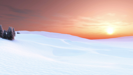 Sunset in winter landscape Stock Photo