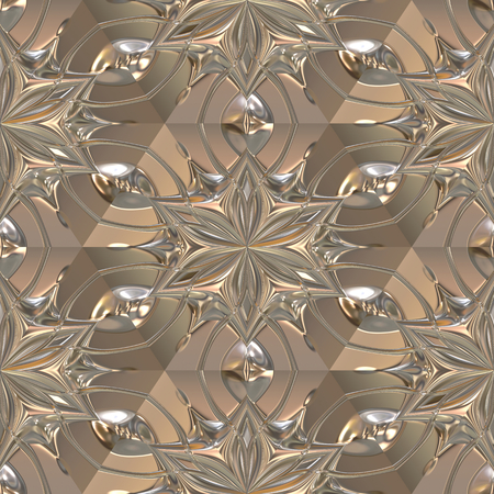 Metal plate with 3d seamless pattern Stock Photo
