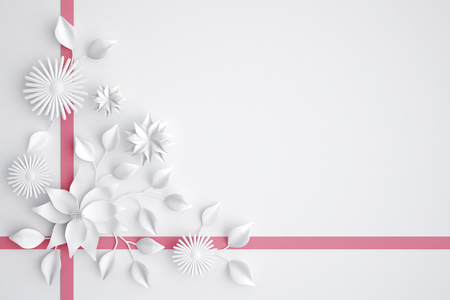 White paper flowers background, wedding decoration, greeting card, 3D illustration Stock Photo