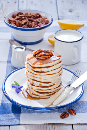 maple syrup: Pancakes with Maple Syrup and Pecan