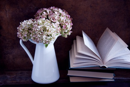 dried flower arrangement: Dried hydrangea flowers in a white jug and books Stock Photo
