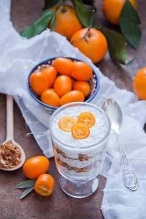 chia seed: Healthy breakfast - Chia Seed Pudding with kumquats and granola