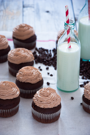 Chocolate cupcakes with Chocolate frosting, Creamy Chocolate Cupcake, Coffee Cupcake Stock Photo