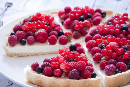 Homemade Berry tart with raspberry and currant Stock Photo