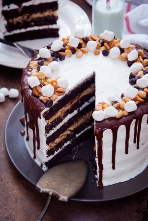 Chocolate Cake Snickers Stock Photo