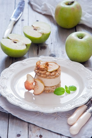 Delicious apple cake made from raw fruit without any cooking Stock Photo