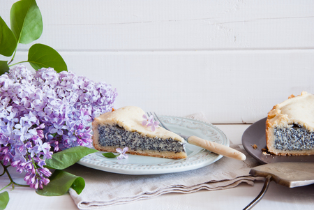 Slice of poppy seed cake with lilac flowers on white wooden background