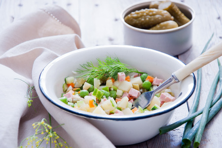 Russian olivier salad with meat and vegetables Stok Fotoğraf