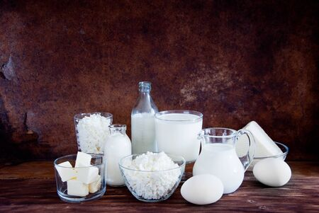 Natural dairy products and white chicken eggs
