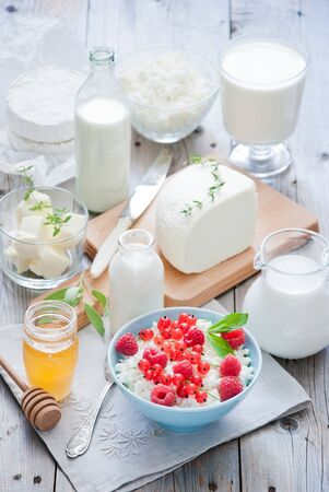 Natural dairy products on a light gray wooden background Stockfoto