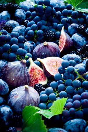 Fresh Blue fruit and berries, figs, grapes, prunes and dewberry Archivio Fotografico