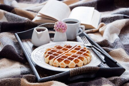 Belgian Waffles and coffee for breakfast in bed