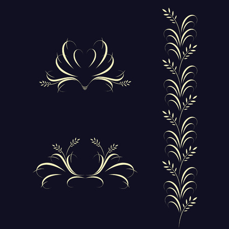 Floral elements on dark background