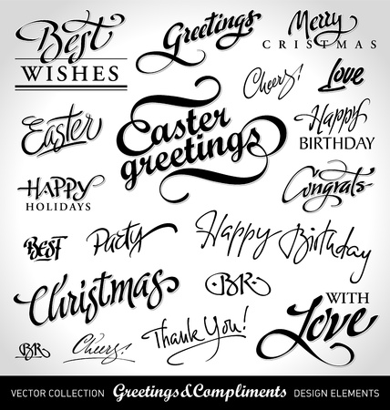 holiday greetings set, hand lettering (vector) Çizim