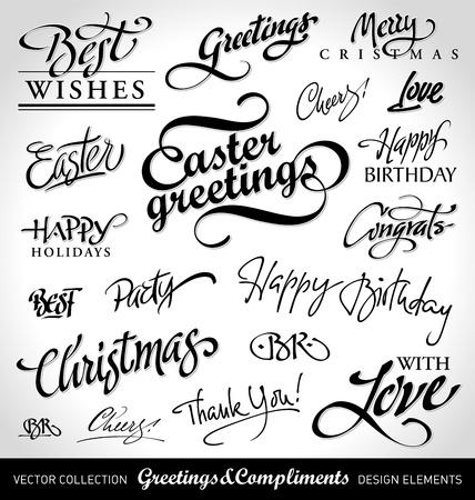 tipografia: vacaciones saludos mano set, letras (vector)
