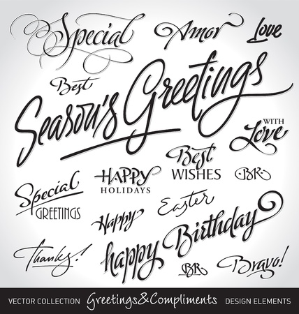 holiday greetings set, hand lettering (vector) Stock Vector - 9845837