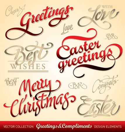 holiday greetings set, hand lettering (vector) Vector
