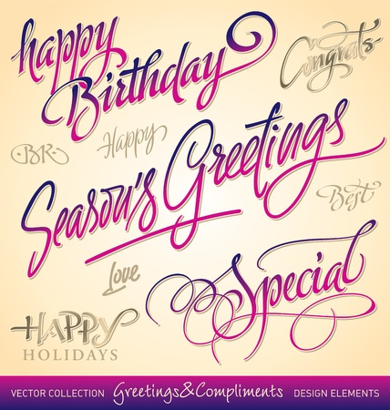 holiday greetings set, hand lettering (vector) Stock Vector - 9845839