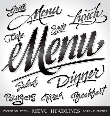 menu headlines, hand lettering set (vector) Çizim