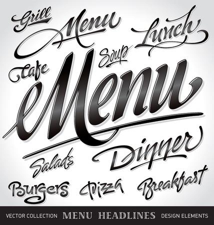 lettrage: tous les titres de menu, main lettrage ensemble (vecteur)