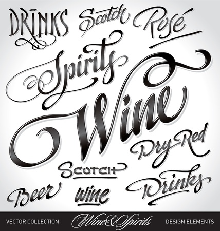 beverages headlines, hand lettering set (vector) Çizim