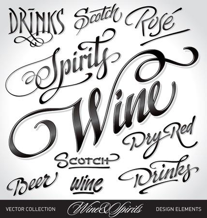 typographic: beverages headlines, hand lettering set (vector) Illustration