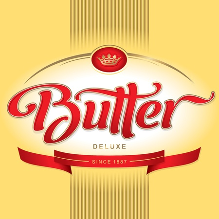 packaging design: butter packaging design, hand lettering (vector) Illustration