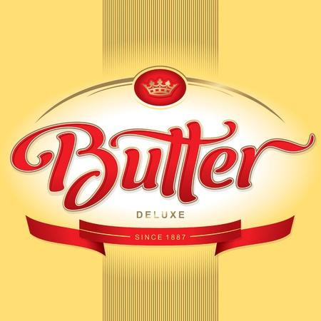 mantequilla: dise�o de envases de mantequilla, de manos de letras (vector)