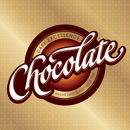 chocolate packaging design, hand lettering (vector) Illustration