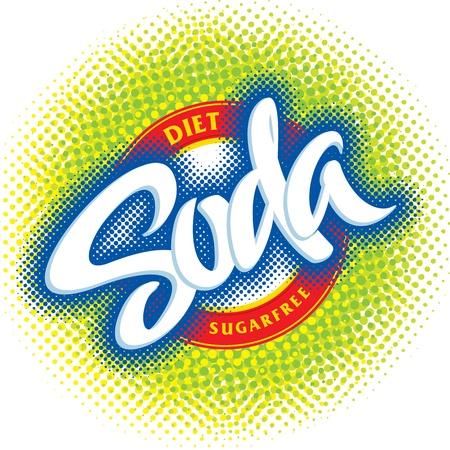 gaseosas: dise�o de envases de refresco, mano letras (vector) Vectores