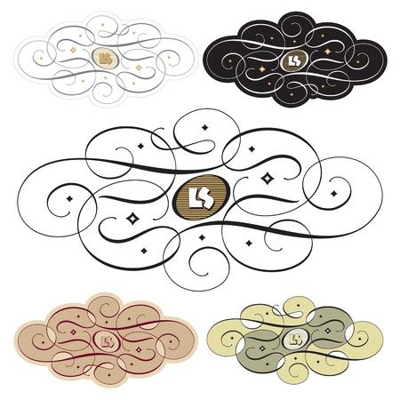 calligraphic swirl set (vector) Vector