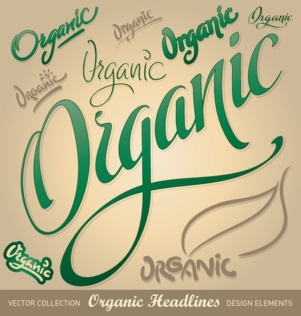 healthful: organic hand lettering headlines set (vector) Illustration