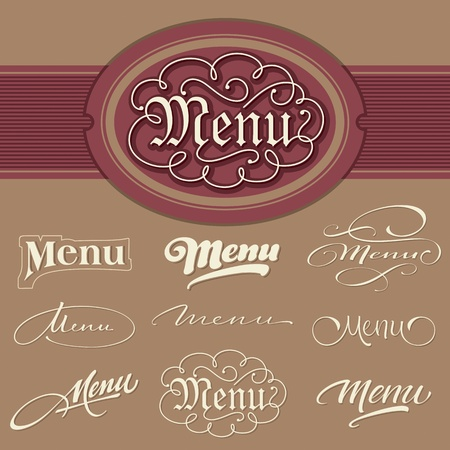 menu headlines, hand lettering set