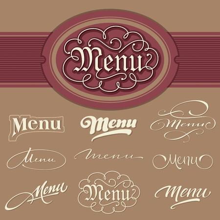 menu headlines, hand lettering set Stock Vector - 10087859