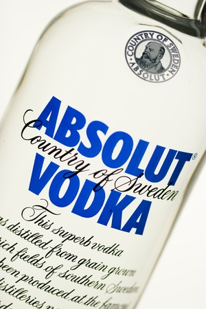 vodka bottle: Dobri dol, Bulgaria - July 30, 2011: Product shot of Absolut Vodka, close-up