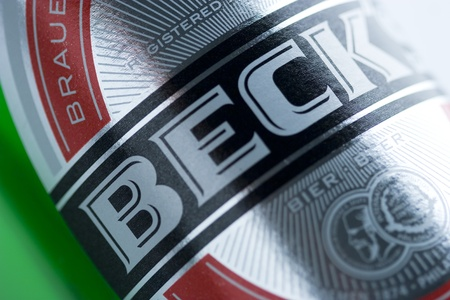 Dobri dol, Bulgaria - July 30, 2011: Product shot of Becks Beer, close-up Editorial
