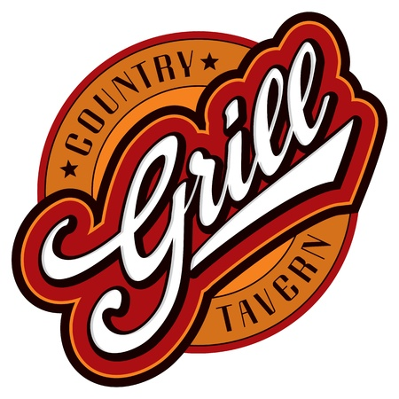 restaurant bill: grill hand lettering design (vector)