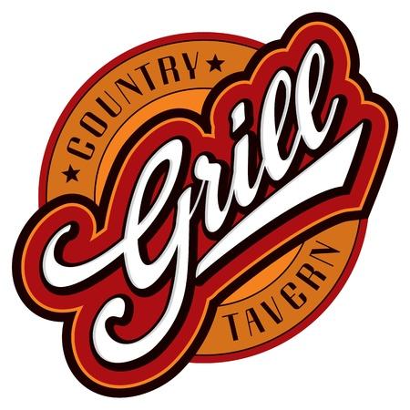 logotipos de restaurantes: parrilla mano letras diseño (vector)