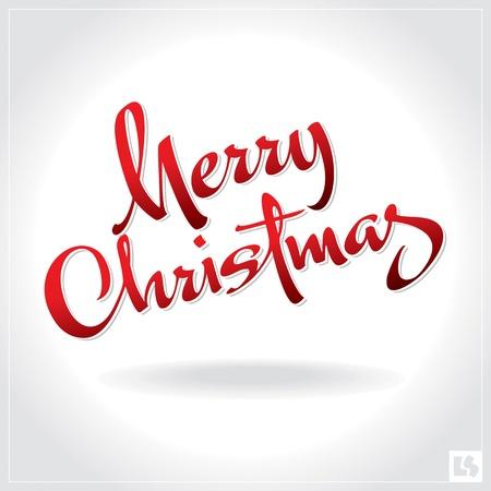 merry christmas text: mano de Navidad feliz letras (vector)